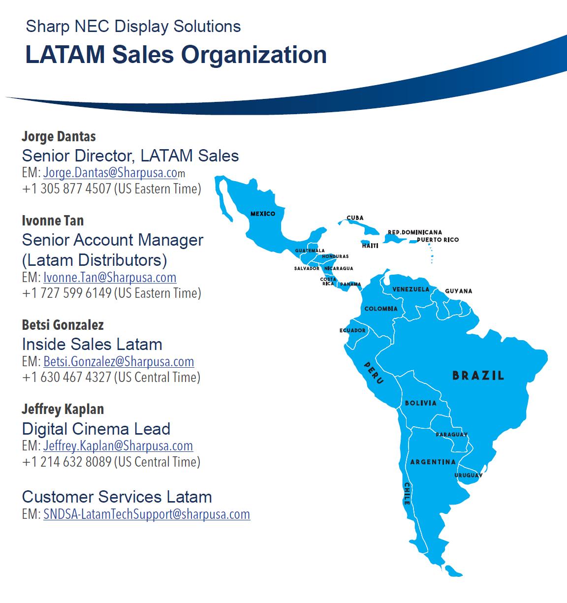 NEC Latin american Sales Map